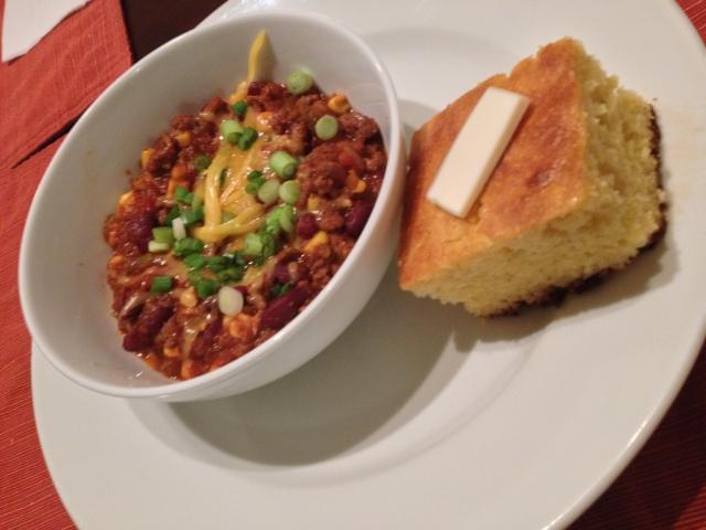 Crockpot Chili & Honey Butter Cornbread   bake, broil & blog