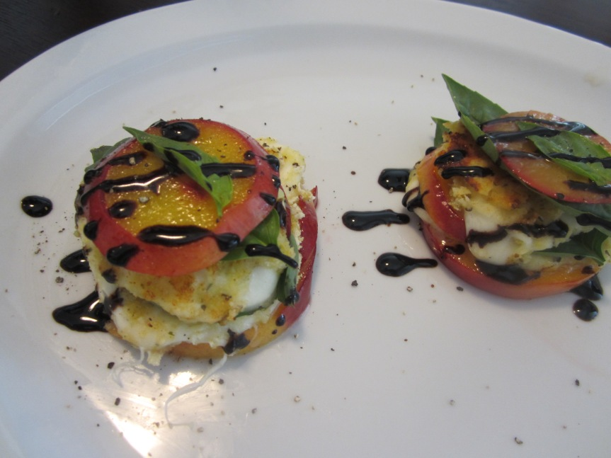 Mozzarella, Basil, and Nectarine Stack