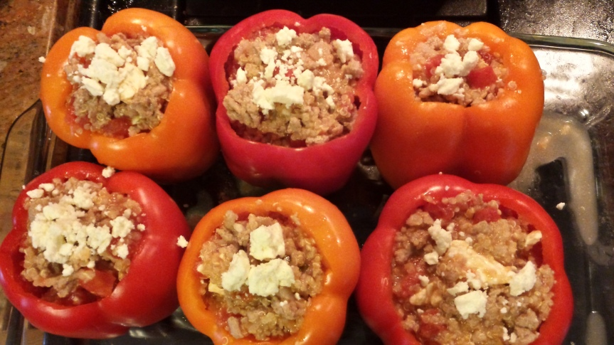 Turkey and Quinoa Stuffed Bell Peppers