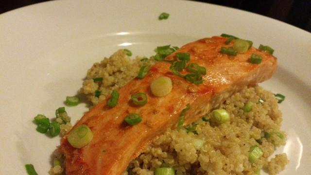 Sriracha Baked Salmon and Coconut Milk Quinoa