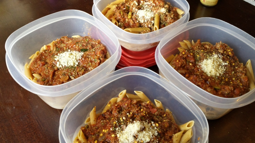 Whole Grain Pasta with Veggie Filled Meat Sauce