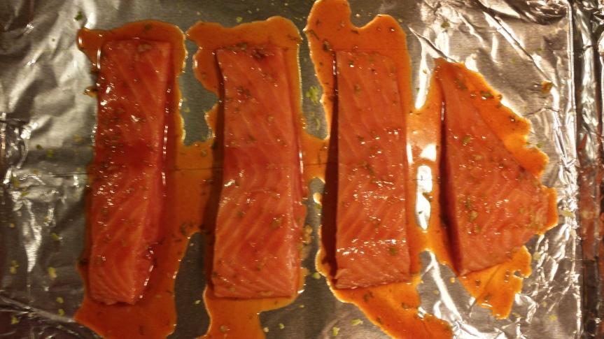 Sriracha Baked Salmon and Coconut Milk Quinoa