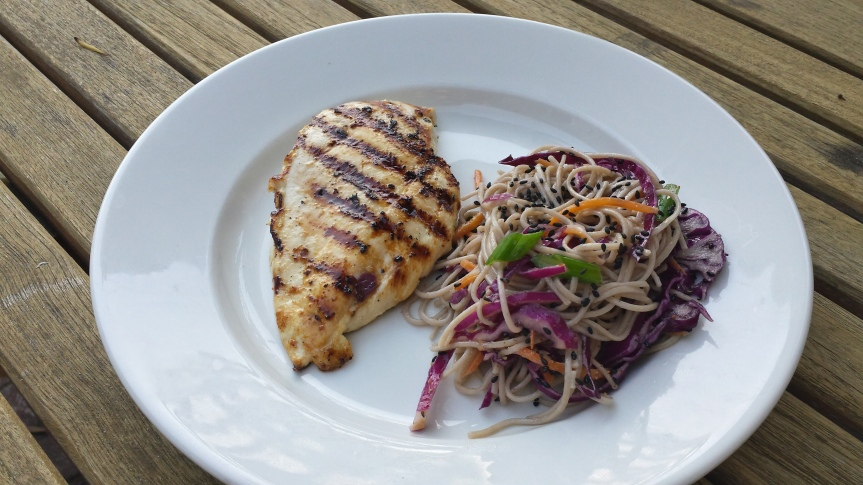 Grilled Chicken and Soba Noodles with Miso Vinaigrette