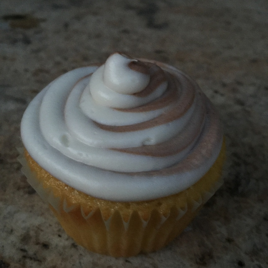 Vanilla Cupcakes with Marble Swirl Frosting