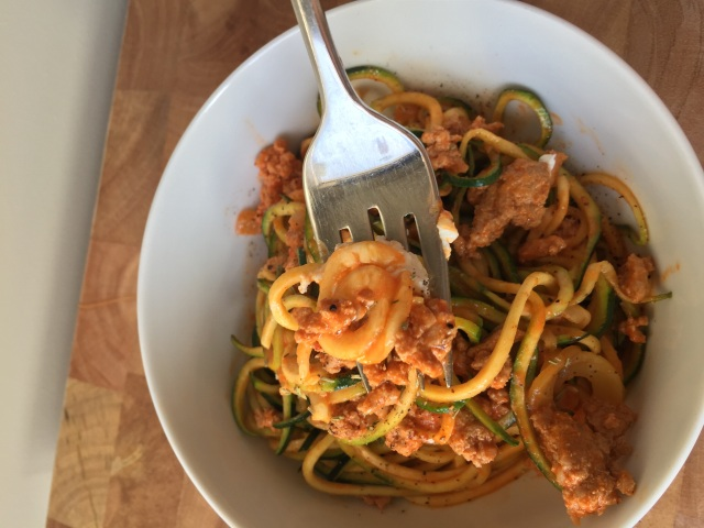 Turkey Red Pepper Sauce with Zucchini Noodles