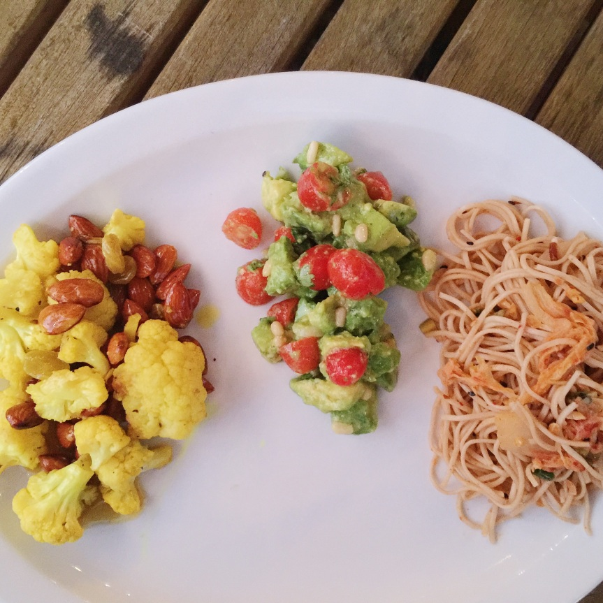 Cauliflower, Golden Raisin, Almond Salad with Curry Vinaigrette