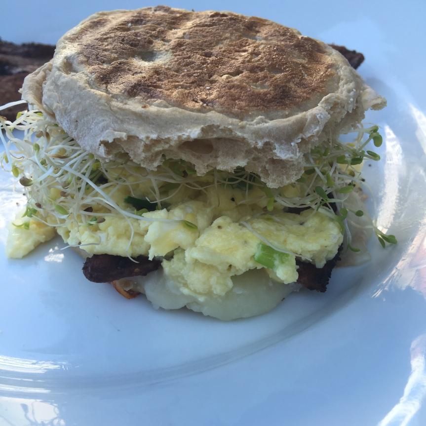 {Green} Eggs & Bacon Breakfast Sandwich