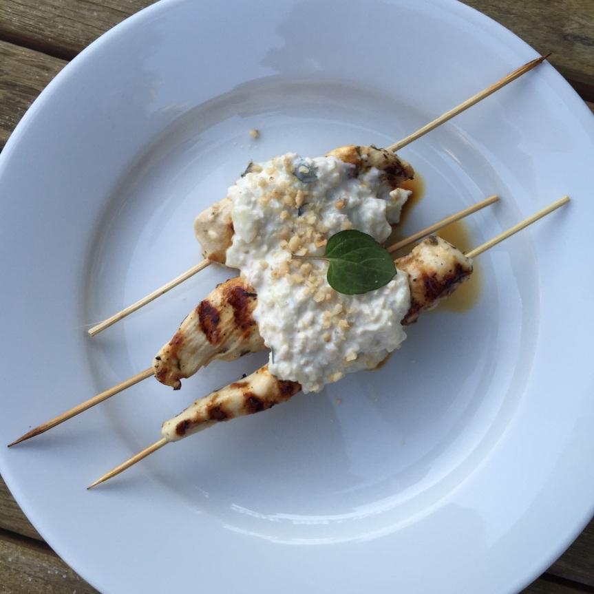 Chicken Skewers with Cucumber-Garlic YogurtSauce