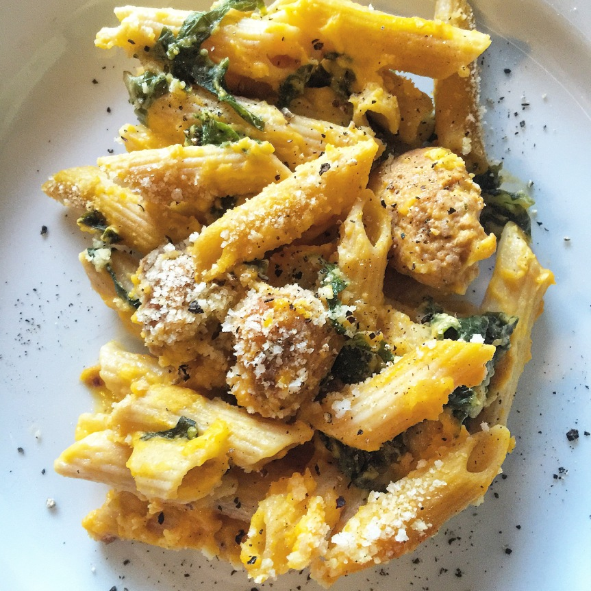 Loaded Butternut Squash Mac n Cheese with Kale and Italian Sausage