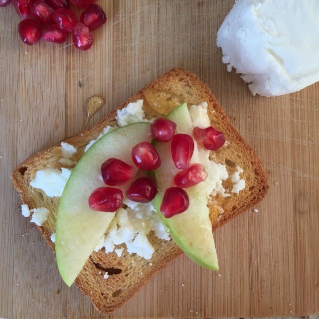 Goat Cheese, Apple & Pomegranate Aril Toast