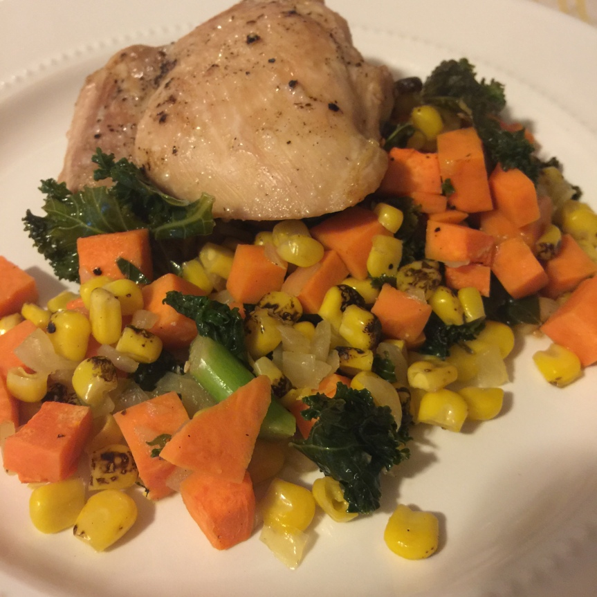 Chicken Thighs with Sweet Potato, Kale and Corn