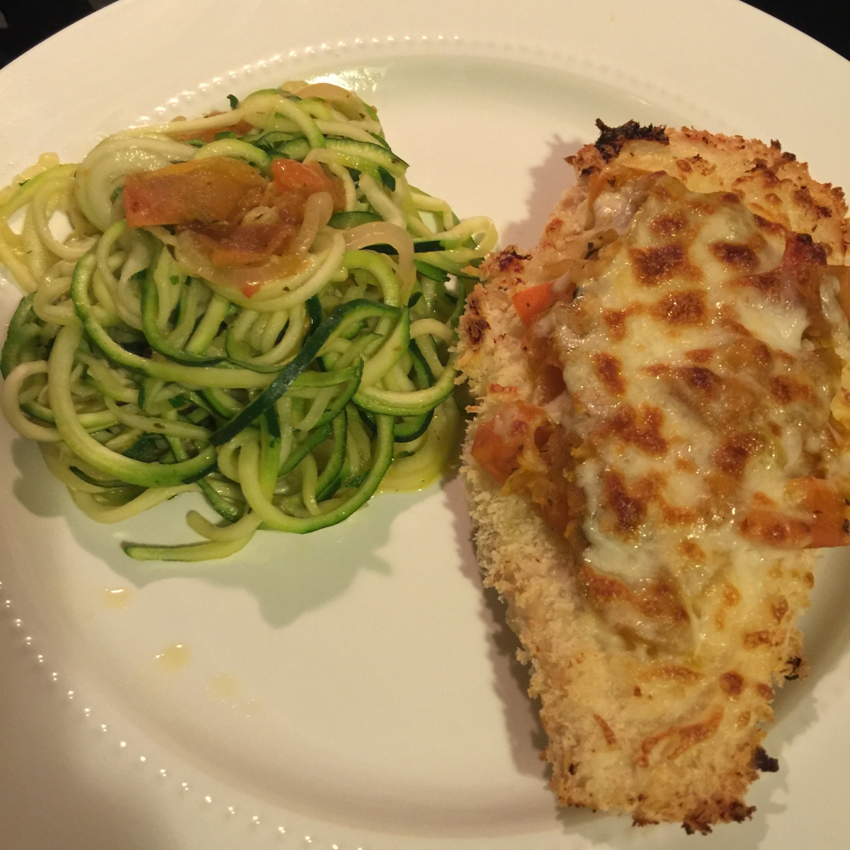Chicken Parmesan over Zucchini Noodles
