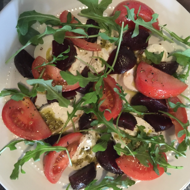 Tomato, Beet and Burrata Salad